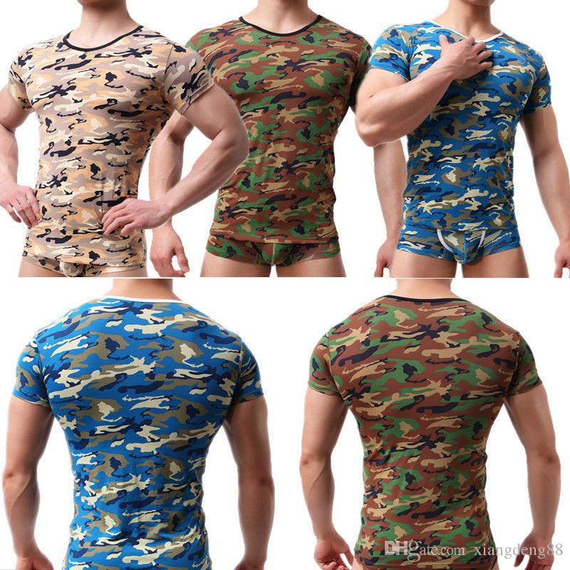 d4ca7121dcdf67 Sports Men S Camo Basic T Shirt Slim Stretchy Bodybuilding Undershirt Camouflage  Muscle Tee Short Sleeve Soft Tanks Cute T Shirts Nerd T Shirts From ...
