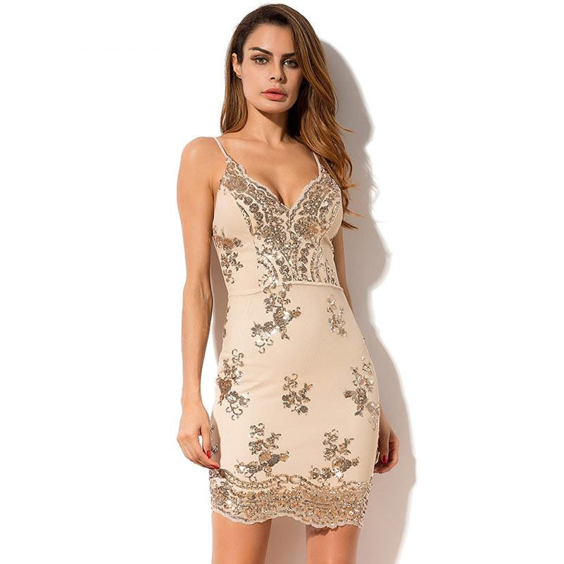 644e66cf464 2019 2018 Summer Sequin Dress Sexy Cocktail Party Short Mini Dress V Neck  Backless Bodycon Women Spaghetti Strap Club Wear LQM043 From Lin_and_zhang,  ...