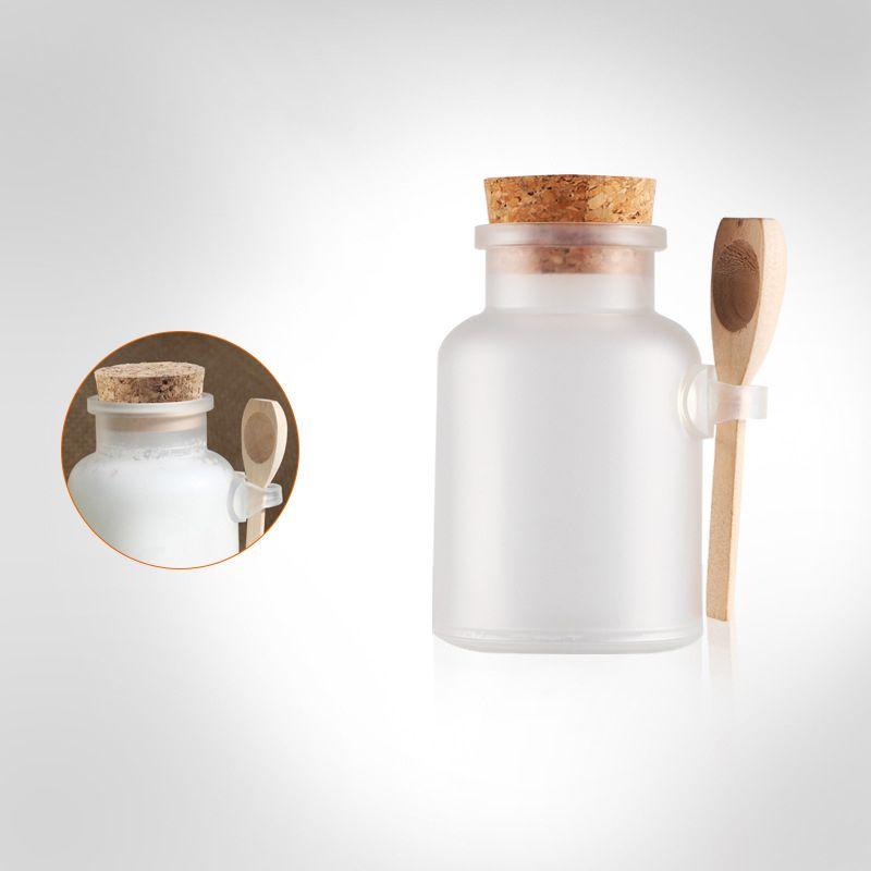 100ML/200ML ABS Round Bath Salt Bottle Plastic Bottle with Cork Jar with Wood Spoon Packaging Bottle Facial Mask Power Botlle