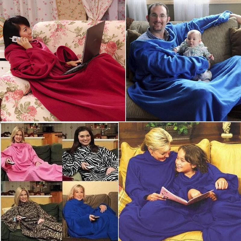 Coperta Con Maniche Originale.Acquista Inverno Caldo In Pile Snuggie Coperta Robe Mantello Con