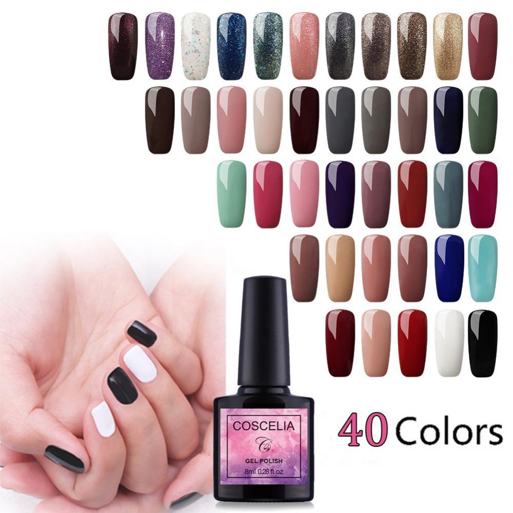 COSCELIA 8ml UV Gel Nail Polish Pure Colors Nail Art Tips Manicure ...