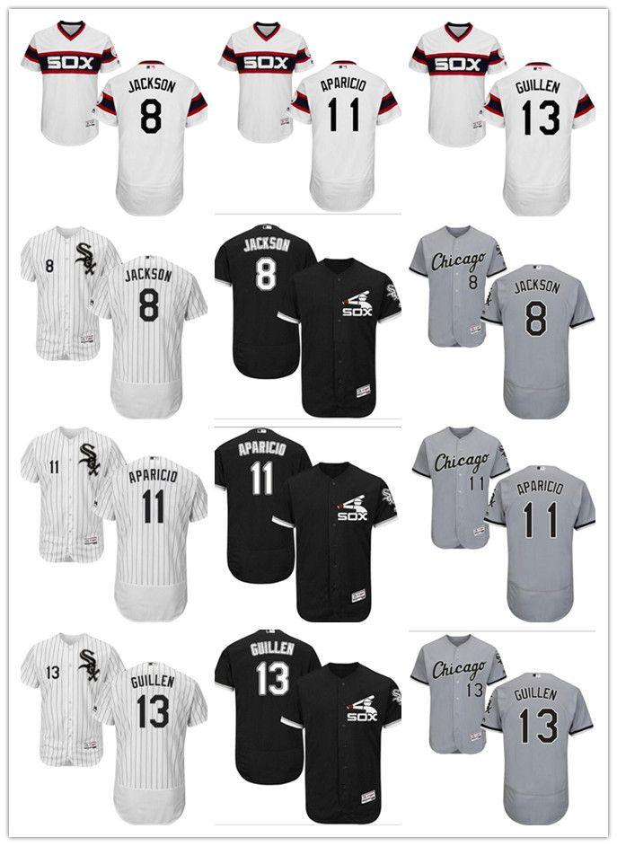 detailed look c080d 31449 Men women youth Chicago White custom Sox Jersey #11 Luis Aparicio 8 Bo  Jackson 13 Ozzie Guillen Black White Kids Baseball Jerseys
