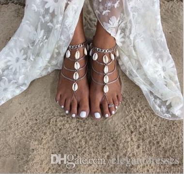 Summer Shell Bridal Feet Caviglia Braccialetto Catena Beach Vacation Sexy Leg Catena Donna Argento Cavigliera Piede Gioielli Catena Accessori da sposa