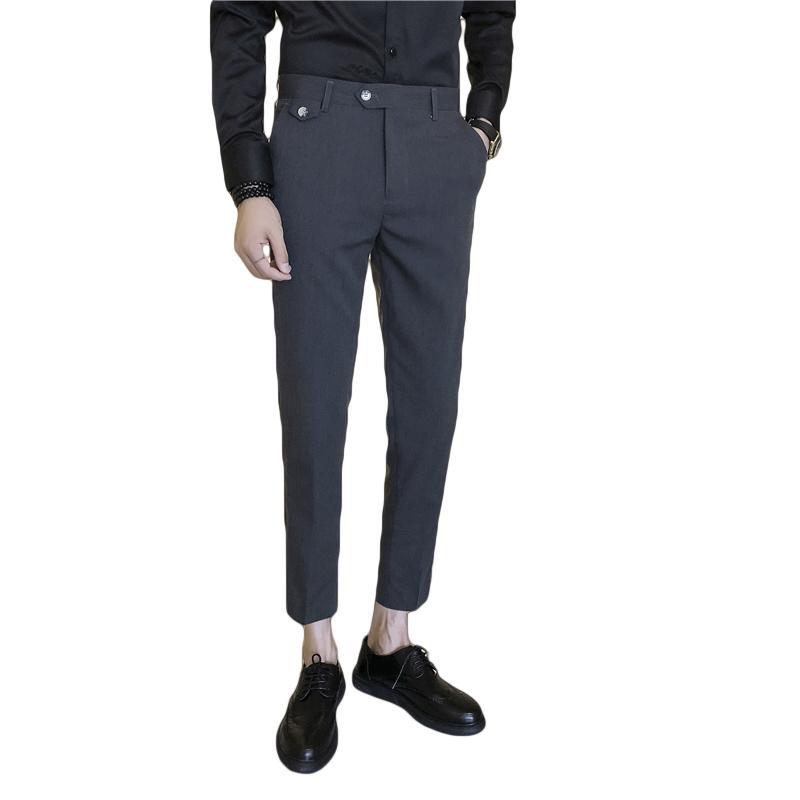 Compre Nuevos 2018 Hombres Formales De La Moda Pantalones Sólidos Pantalones  De Tobillo Hombre Caqui Negro Estilo Británico Pantalones Casuales De  Negocios ... 1e7769223eaf