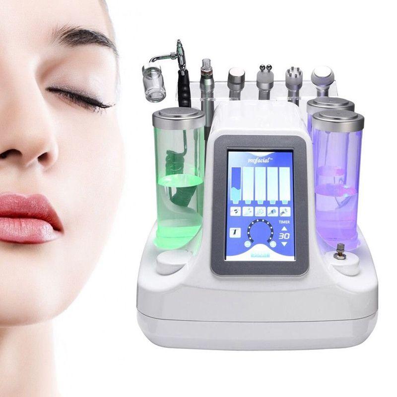 6in1 Vacuum Face Cleaning Hidro Dermabrasion Water Oxígeno BIO RF Jet Peel Machine Limpiador de poros Masaje facial Cuidado de la piel Belleza