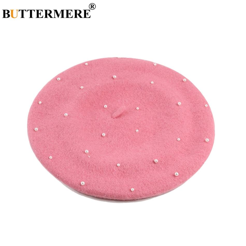 2019 BUTTERMERE Pink French Beret Hat Ladies Wool Tweed Flat Caps Women  Elegant Pearl Cute Artist Cap Sweet Warm Autumn Painters Hat From Fenkbao 6c2ffed63e1