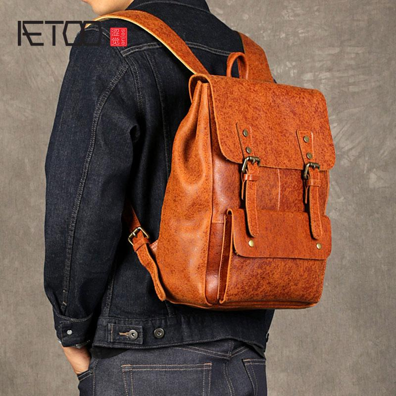 c8c5fd41f577 AETOO The First Layer Of Leather Men S Shoulder Bag Leather Computer Bag  Personality Trend Flash Point Travel Busine School Bags Messenger Bags From  ...