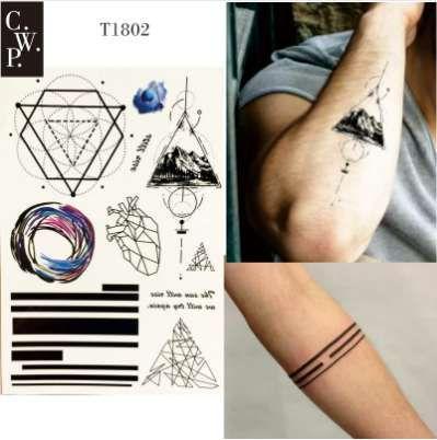 T1802 Geometric Line Temporary Tattoo With Triangle Mountain, Line ...