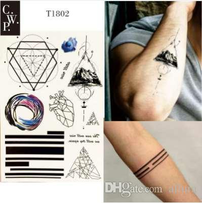 t1802 tatouage temporaire ligne géométrique 1 pièce avec triangle de  montagne, ligne, coeur et rondeur