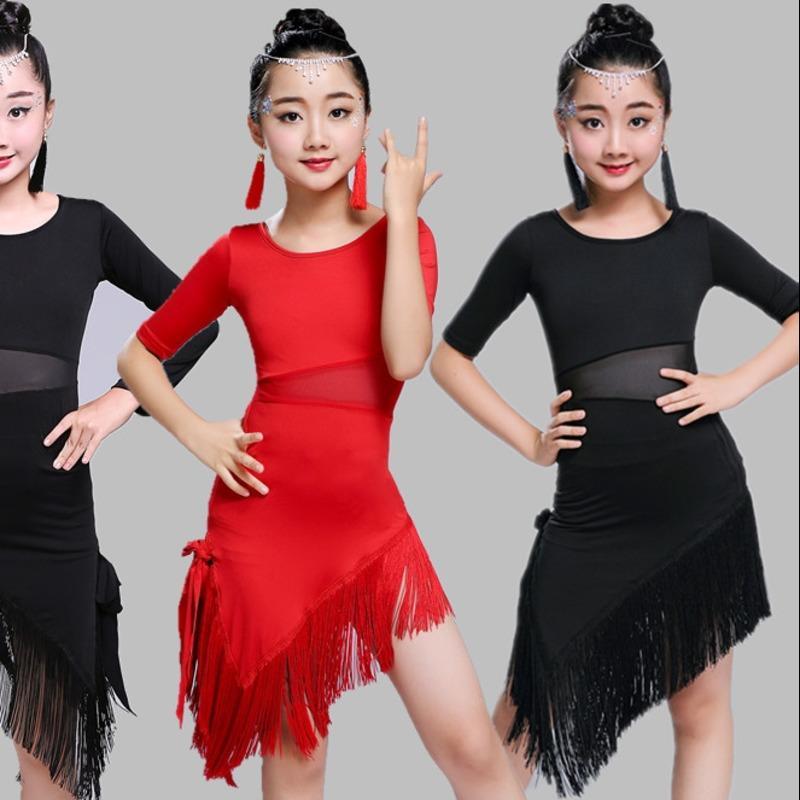 Acheter Robe De Danse Latine Gland Pour Fille Concours Salle De Bal Latin  Salsa Robes Enfants Rumba Samba Spandex Enfants Costume De Jupe Tango De   27.76 Du ... 09464becf58