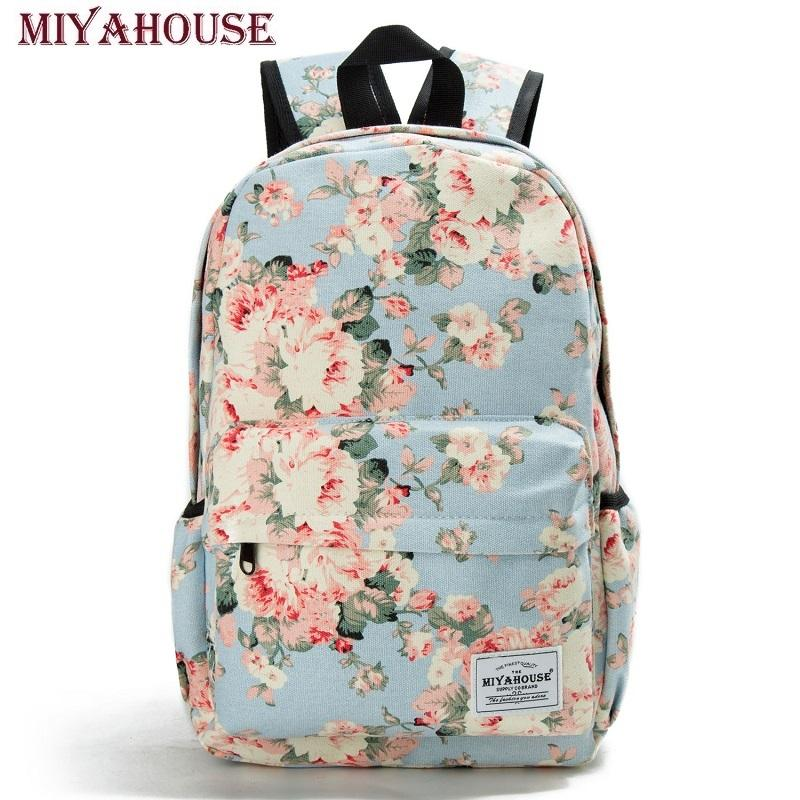 1e337311f669 Miyahouse Women Canvas Backpacks For Teenage Girls Travel Rucksack Fashion  School Bags For Girls Floral Printing Backpack WomenY1883106 Daypack  Swissgear ...
