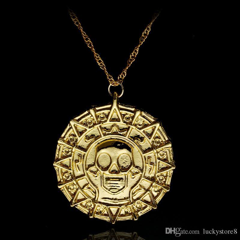 Estilo quente filme acessórios piratas, mal colar de moeda de ouro dos homens colar de pingente de colar de caveira, frete grátis.