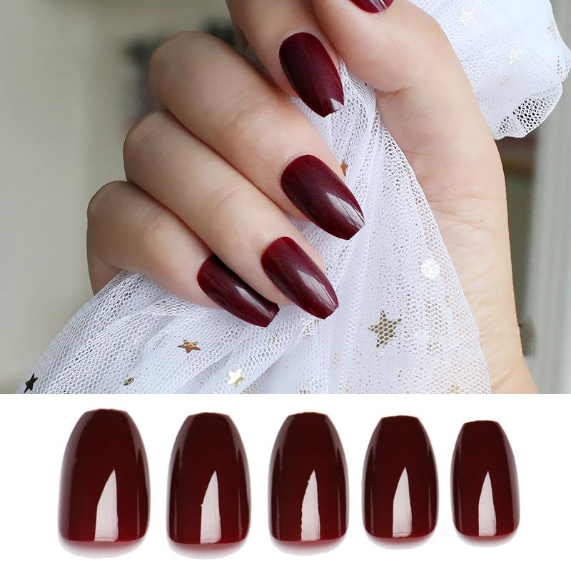 Ballerinas Nails Tips Coffin Shape Pure Wine Red Purple Full Cover