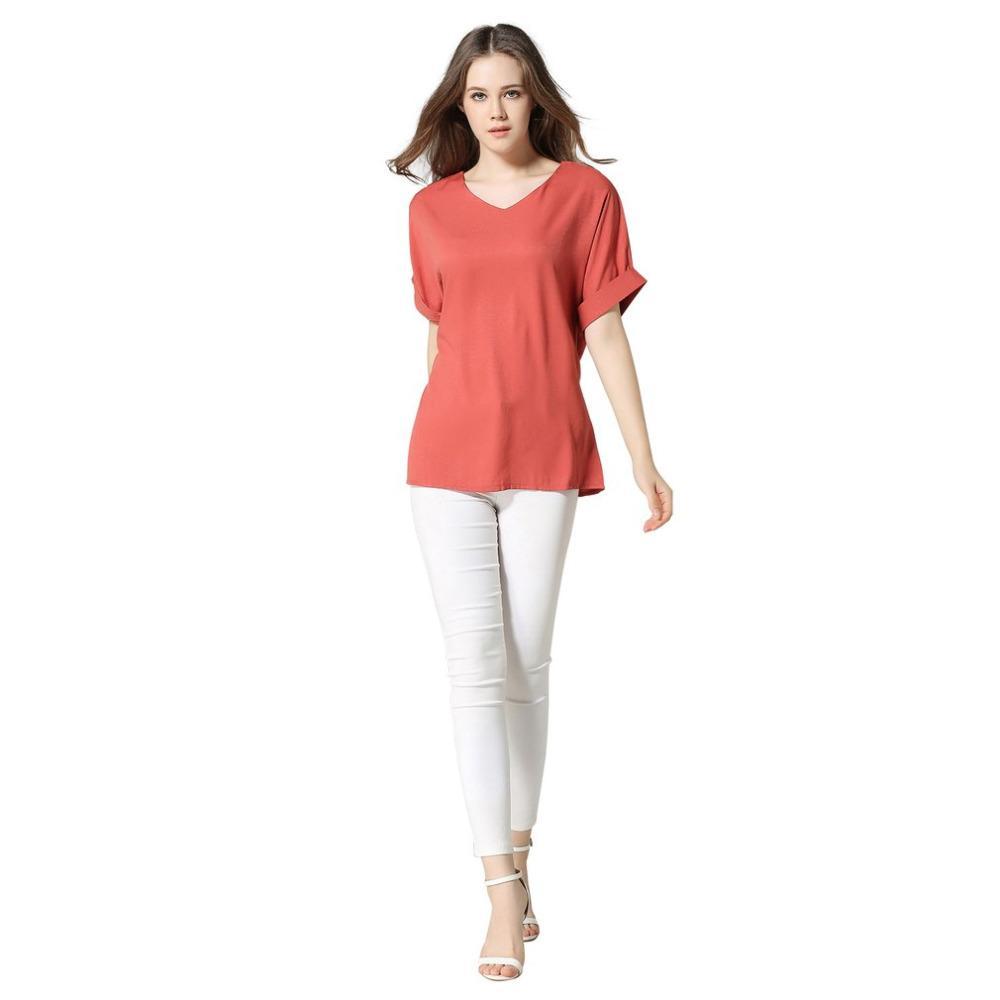 Camicia da donna confortevole in cotone di lino traspirante Top manica corta tinta unita casual Tshirt femminile Abiti etnici eleganti 2018