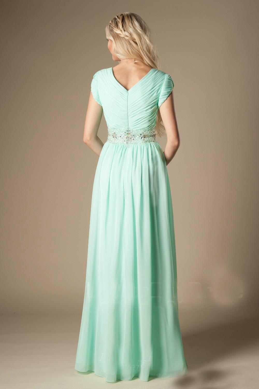 Robe de demoiselle d'honneur verte menthe perlée Modeste A-Line en mousseline de soie Formelle Plis longs demoiselle d'honneur robe Robe de mariée invité sur mesure, plus la taille