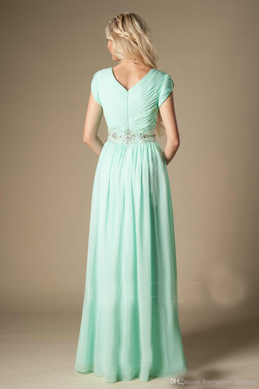 Vestido de dama de honor verde menta con cuentas Modest A-Line Gasa Largos pliegues formales Vestido de dama de honor Vestido de novia Invitado Hecho a medida Más