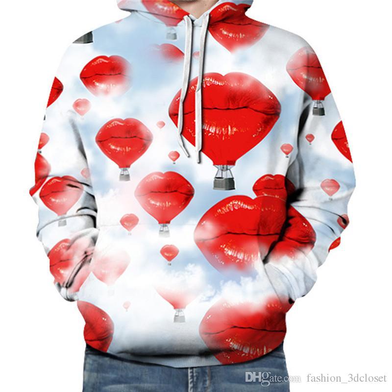Red Lip 3D Sweatshirt Long Sleeve Loose Streetwear Men Novelty Hoodie Pullover Spring Casual Hooded Sexy Printed Tracksuits