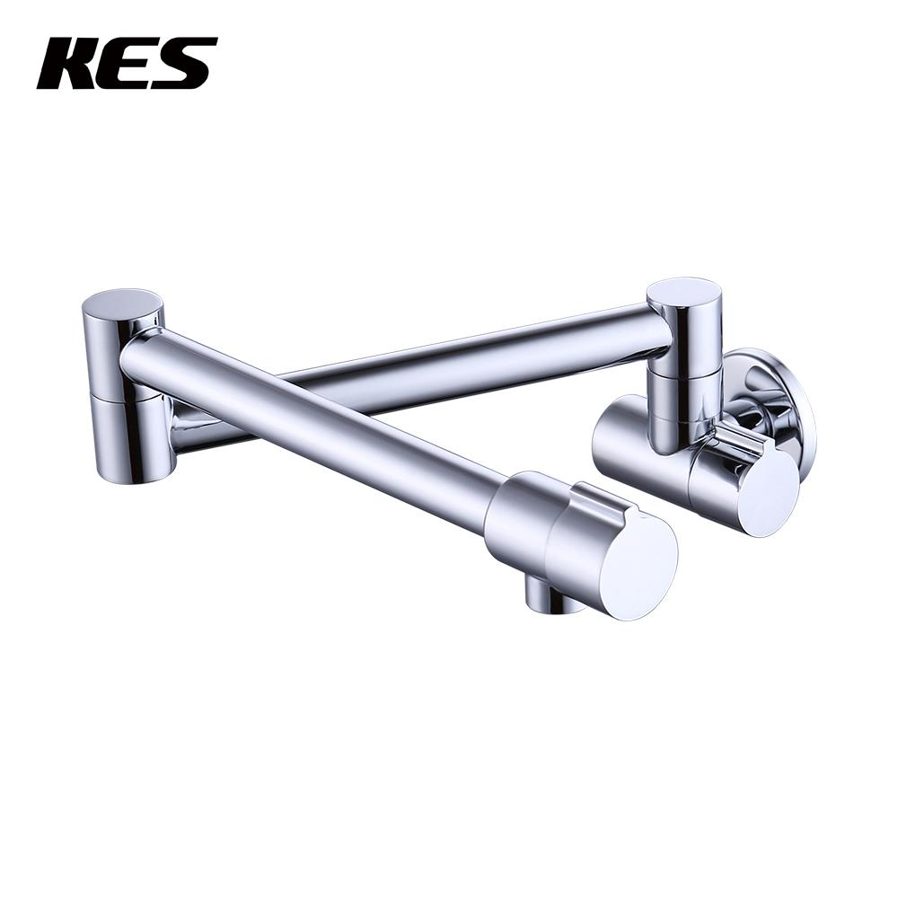 2018 Kes 2 Handle Pot Filler Faucet Wall Mount Lead Free Brass Articulating  Folding Kitchen Faucet 2.2 Gpm 1/2 Npt Chrome, Kus923lf From Sojo, ...