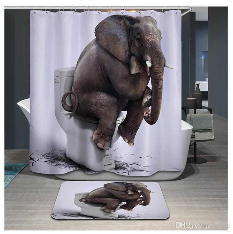 2019 3D Printing Elephant Tiger Shower Curtain Waterproof Lion Bathroom Curtains Polyester Cortina Ducha With Hooks YB106 From Hangu
