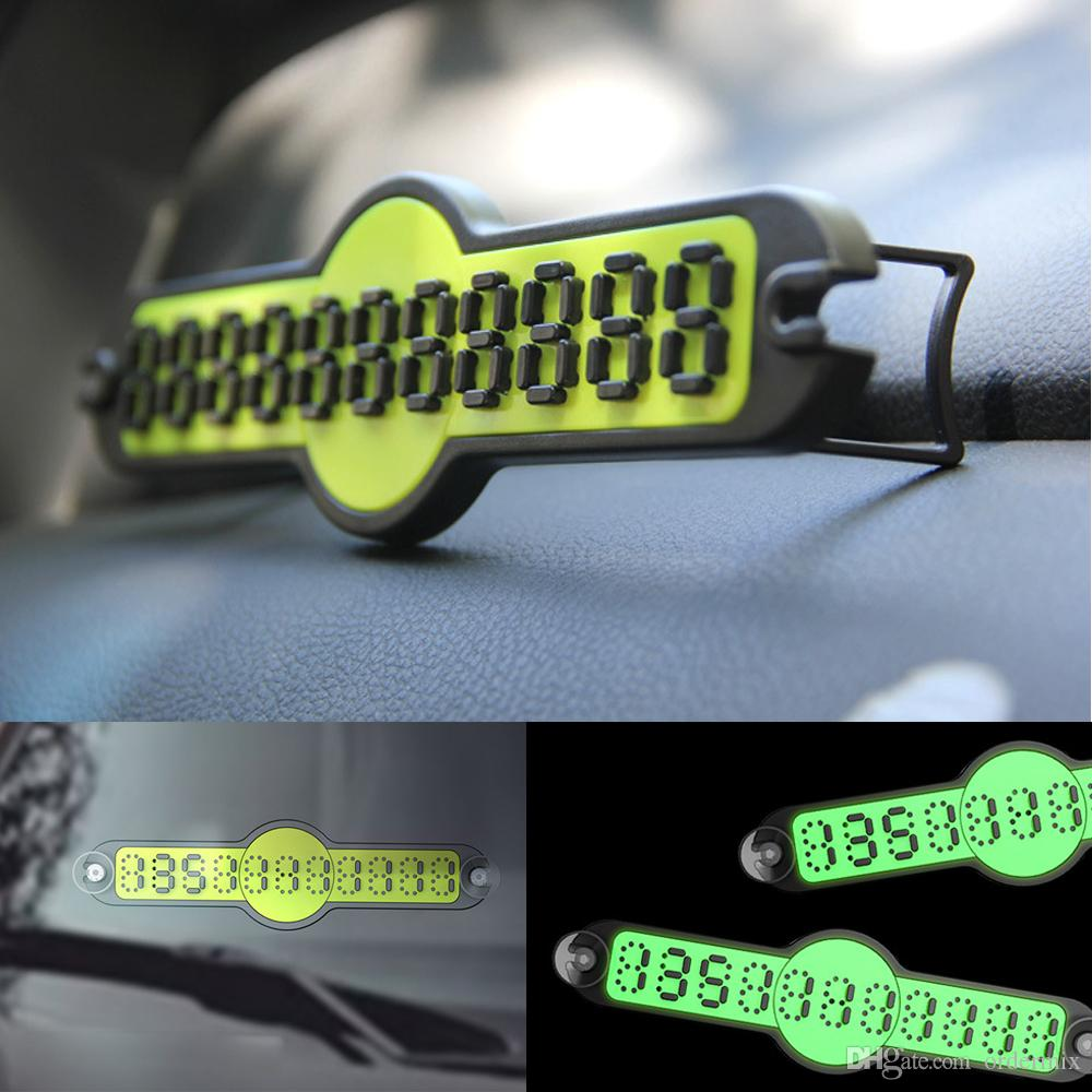 Interior Accessories Car Temporary Parking Card With Suction Cups And Night Light Lamp Temporary Stop Card Sign Telephone Number Plate