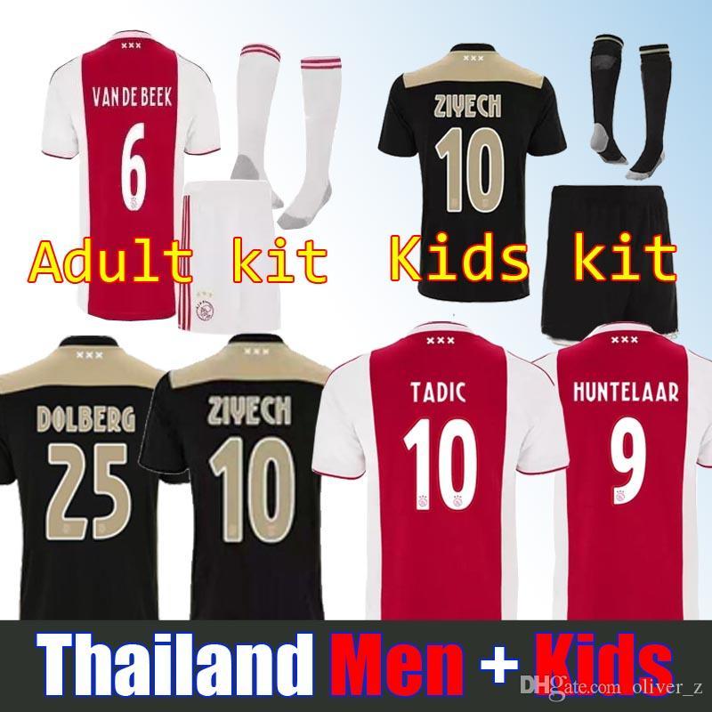 3106108f5 2018 Top Quality 2018 2019 Ajax FC Soccer Jerseys Kids Kits + Socks 18 19  Camisa ZIYECH TADIC HUNTELAAR DOLBERG SCHONE Jerseys Football Shirts From  Oliver z ...