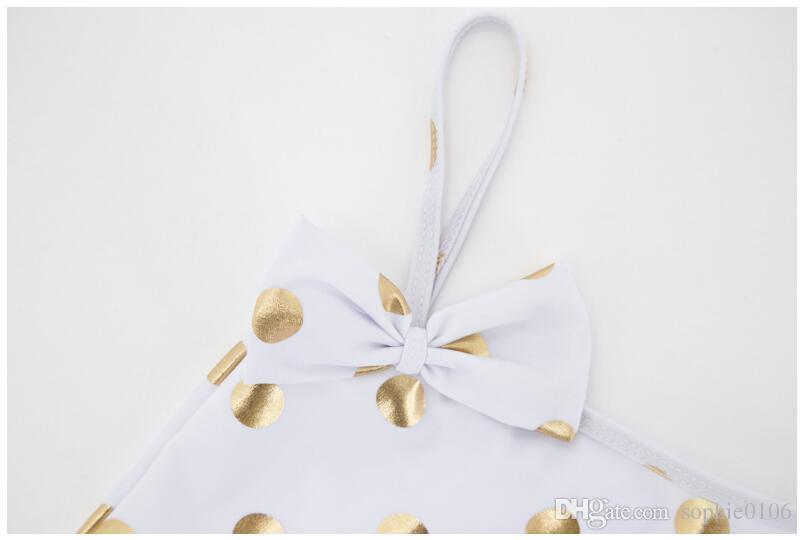2018 Girl Summer Point Princess traje de baño de una pieza de bebé de poliéster traje de baño de los niños de verano ropa de baño ropa de bebé AM 007