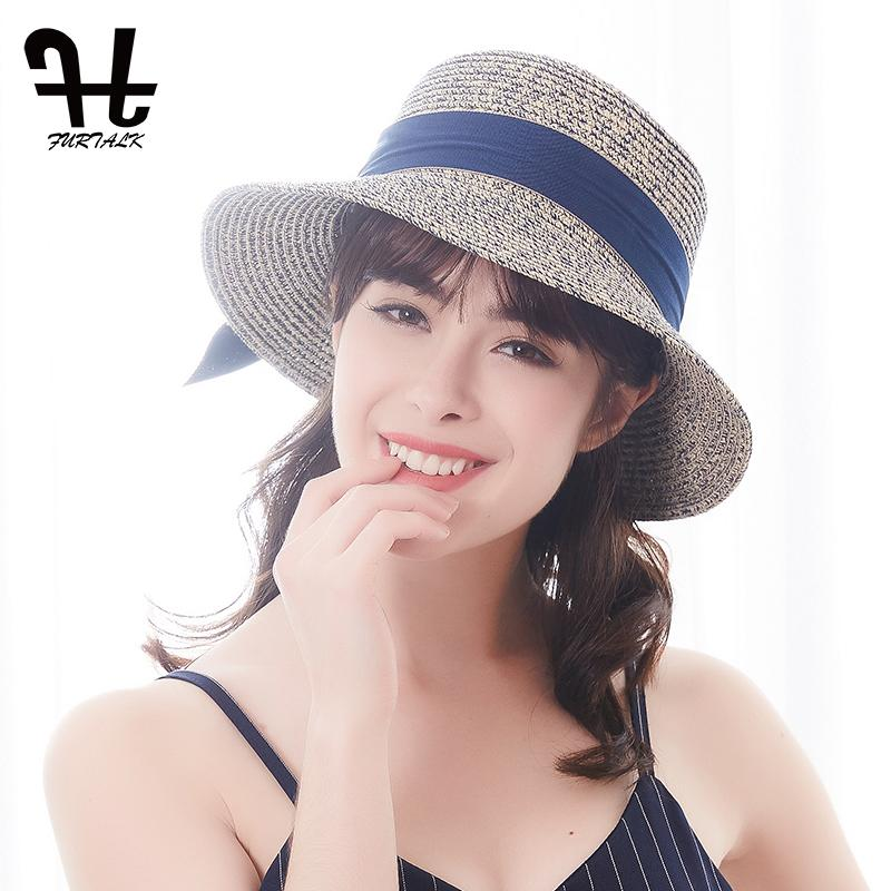 50b3c9be9d4 FURTALK Summer Sun Hat For Women Straw Hat For Beach Sun Girls Travel  Bucket Panama Ladies Hats Floppy Hats From Harveyi
