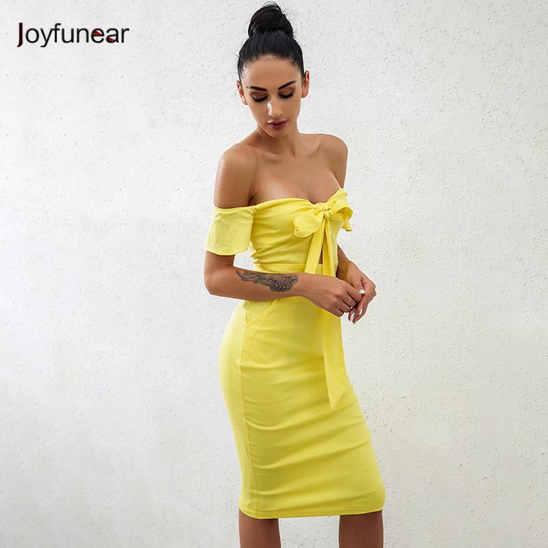 14f50b1ec258 20187 Joyfunear Off Shoulder Short Sleeves Summer Dress Women Bandage Bow  Elegant Bodycon Party Dresses Yellow Color Drop Shipping Dresses For  Cocktail ...