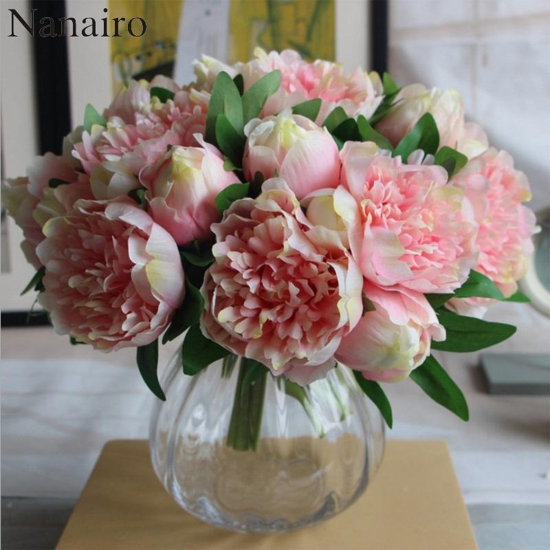 Big Size 5 Heads European Peony Flower Bouquet Artificial Silk ...