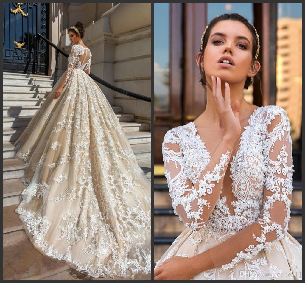 2018 New Sexy Long Sleeve Lace Ball Gown Wedding Dresses