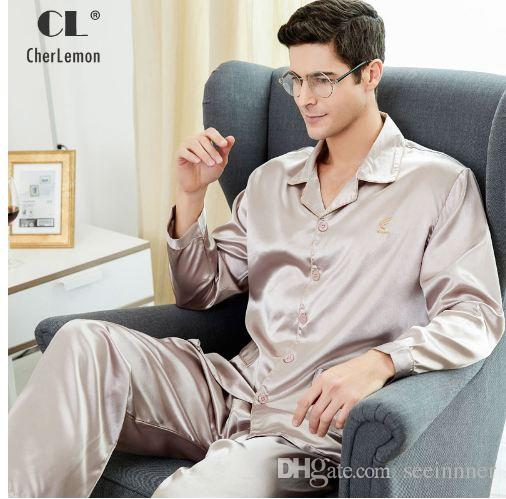 a60a524db4 2019 CherLemon High Quality Silk Men Pajamas Sleepwear Long Sleeved Silk  Satin Nightwear Soft Spring Autumn Pyjamas Plus Size M 4XL From Seeinnner