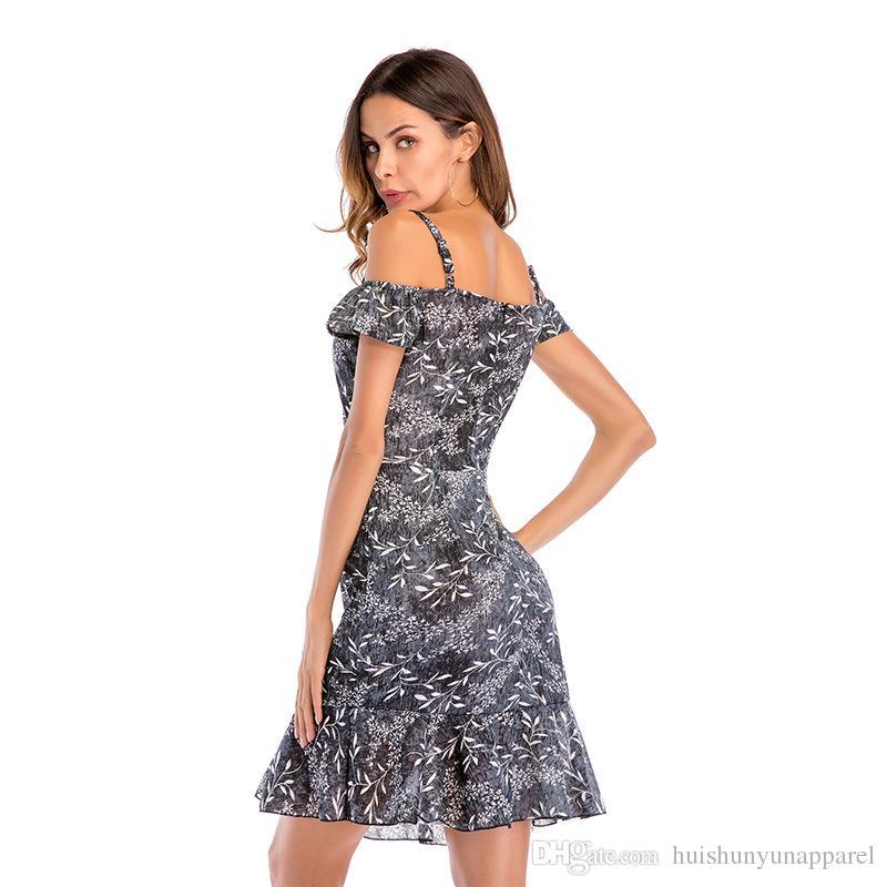 5ffa50b1ee Women Ruffle Off Shoulder Spaghetti Strap Female Tunic Girl Casual ...