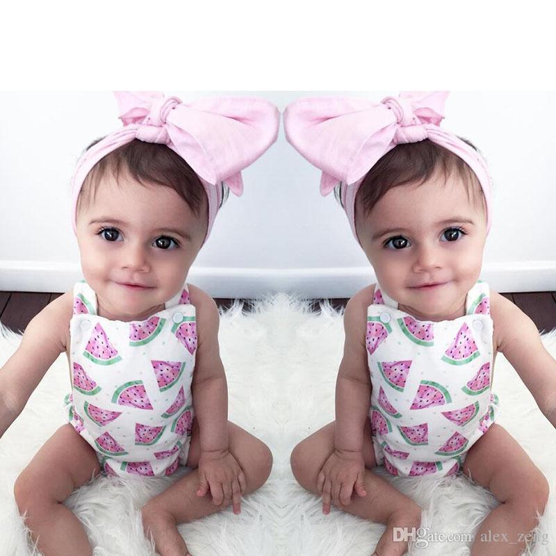 Baby Mädchen Strampler 2018 Neue Mädchen Sommer Wassermelone Gedruckt Strampler + Rosa Stirnband 2 stücke Set INS Infant Kleinkinder Overall Outfits