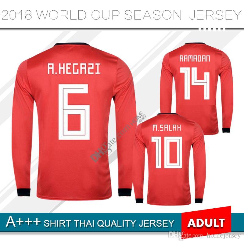 f015d31478f 2019 Egypt Soccer Jersey M. SALAH Home 2018 World Cup KAHRABA Egypt  National Team Men Long Sleeve Footbal SHIRT Maillot De Foo Customize From  Homejersey