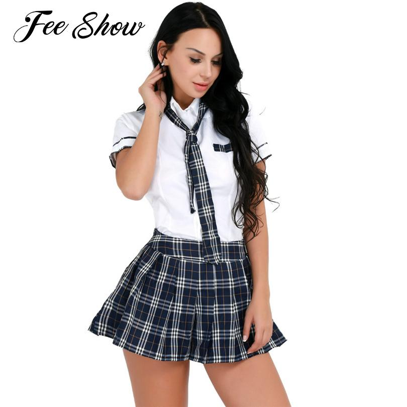 70be3a8e186 Women Adult Cheerleader Sexy Cosplay Costumes School Girl Costume Sexy Role  Play Costumes Uniform Short Sleeves Shirt with Skirt C18111601