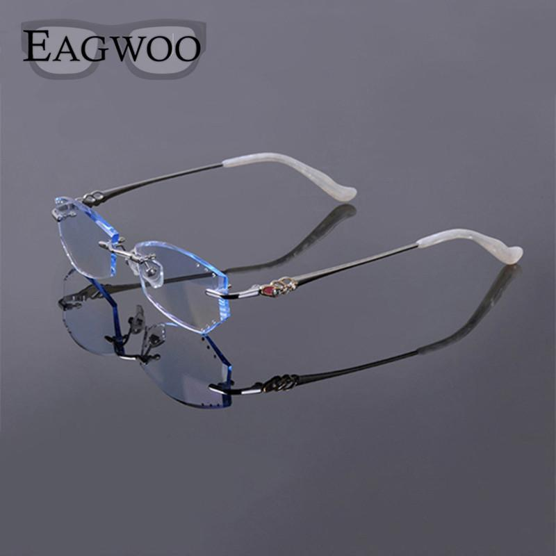 b2b5a6b73fd 2019 Titanium Eyeglasses Women Rimless Prescription Reading Myopia  Photochromic Progressive Glasses Spectacle With Crystal Color Lens From  Value333