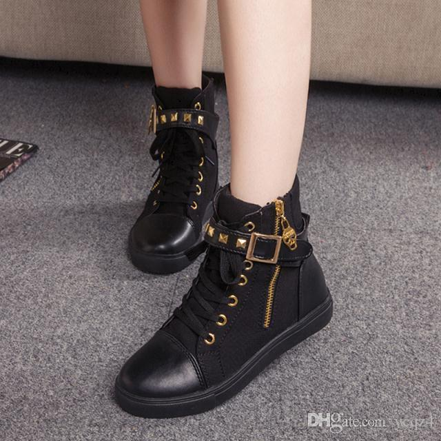 a690f39d9da43 Black Gray Round Toe Platform High Top Canvas Buckle Shoes Woman Lace Up  Boots Student Flat Ankle Boots Botas Mujer Mid Calf Boots Womens Ankle Boots  From ...