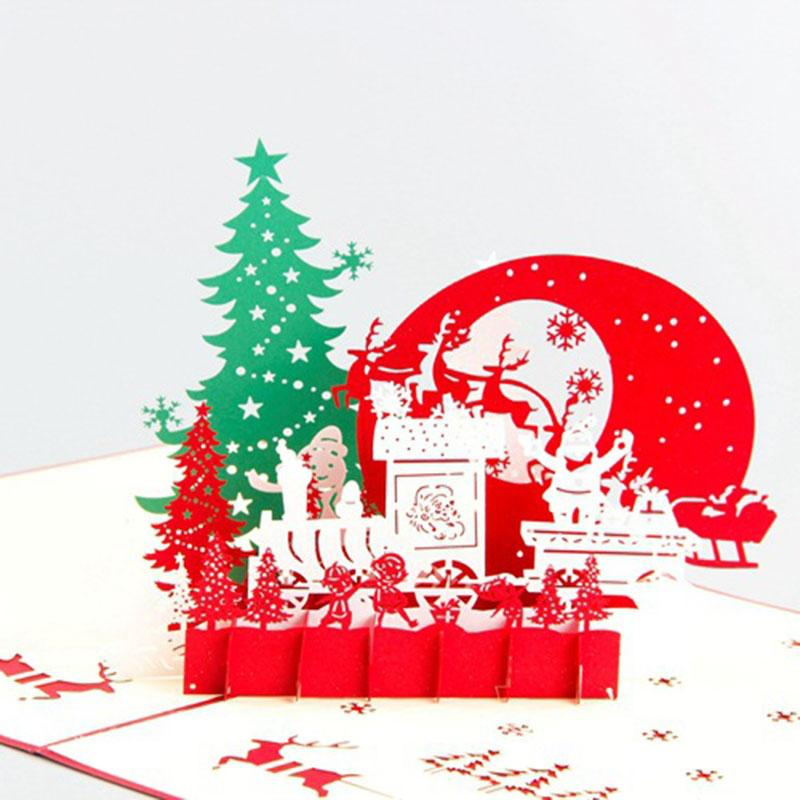 Christmas Bday Cards.Creative Christmas Greeting Cards 3d Hollow Handmade Card Pop Up Christmas Eve Cards Gift For Birthday Party Gift