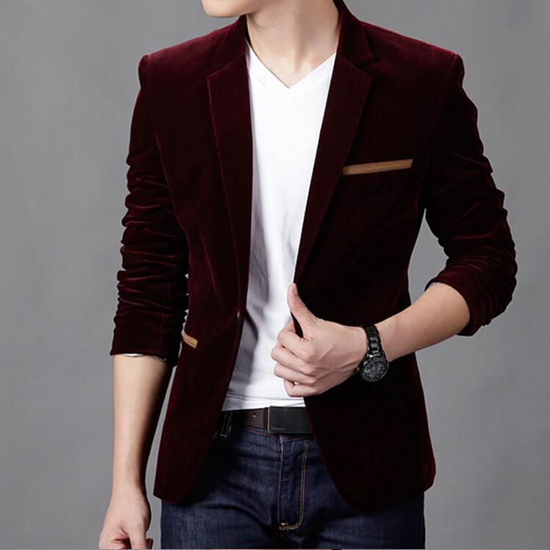 b8aa5124cef 2019 2018 Mens Blazer Brand Clothing Casual Suit Slim Jacket Single Button  Corduroy Blazer Men Dress Suits Terno Masculino Plus Size From Xuqiuxiang3