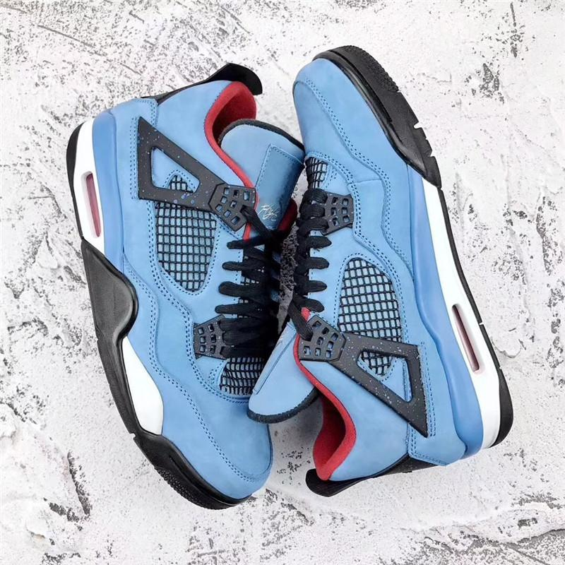 975344f66afc 2019 ORIGINAL 18AIR TRAVIS SCOTTS 4 HOUSTON OILER 4S CACTUS JACK IV BLUE BASKETBALL  SHOES AUTHENTIC 308497 406 SPORTS SNEAKERS WITH BOX From Mshing