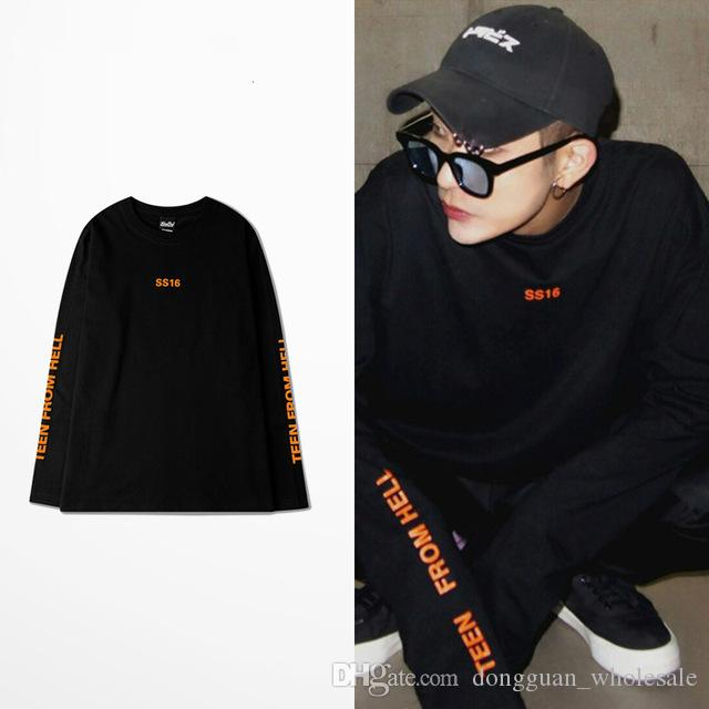 18ss Ss16 T Shirt Men Korea Vintage Orange Harajuku Letter Oversize