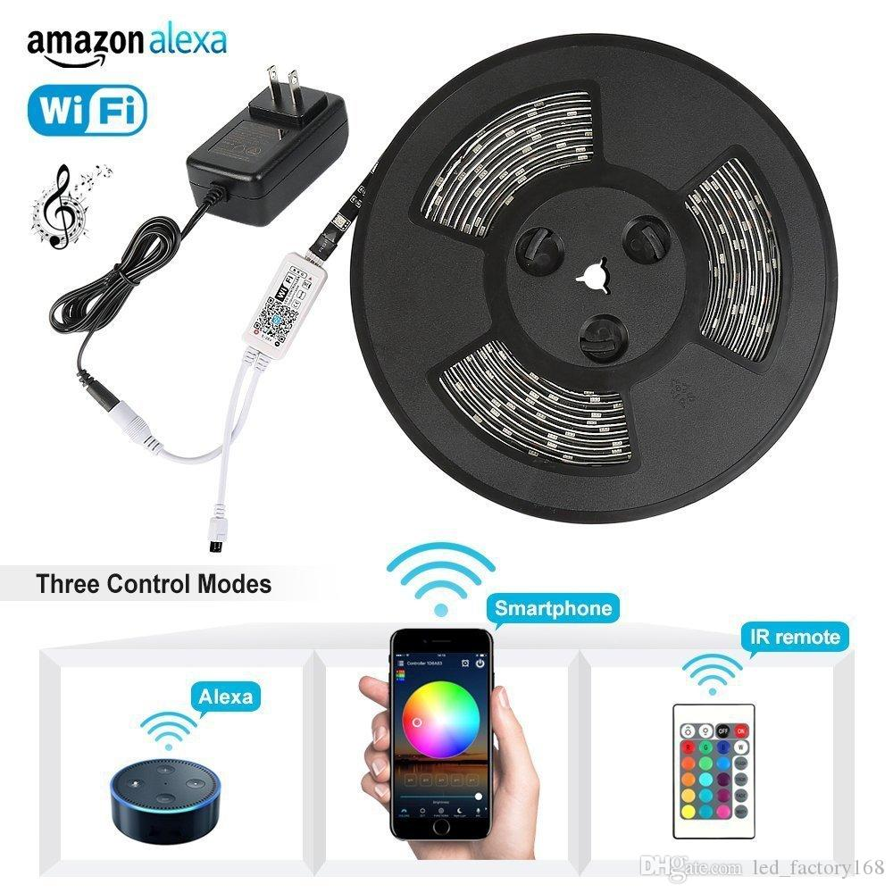 9bff7ef6cc46 Smart Led Light Strip Wifi Wireless Phone Controlled Strip Light Kit  150leds Black PCB 5050 Waterproof Lights Working Alexa With Android IO Led  Light Strips ...