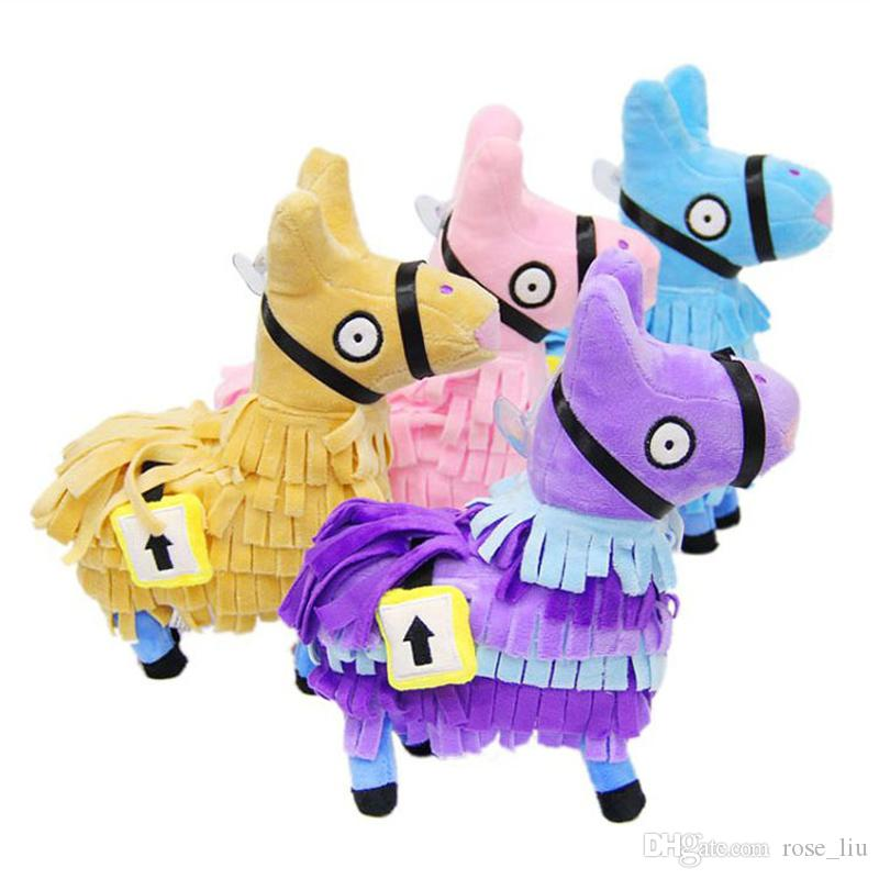 4 Color 24CM(9.6inch) Fortnite plush dolls Stash Llama Figure Soft Stuffed Horse Animal Cartoon Toys Action Figure Toys Kids Gift B