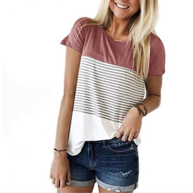 712932afa7a5 Women 2018 New Summer Fashion T-shirt O-Neck Short Sleeve Striped T Shirts  Female Casual Tops Tees Online with  34.56 Piece on Qinfeng05 s Store