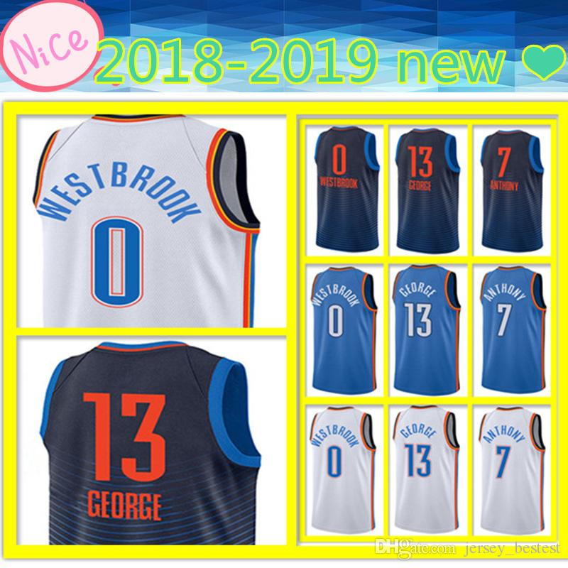 1e208f66de31 2019 18 19 New Men S Adult Oklahoma City Jersey 13 Paul George 0 Russell  Westbrook 7 Carmelo Anthony Basketball Jerseys Embroidery Logos Top Qual  From ...