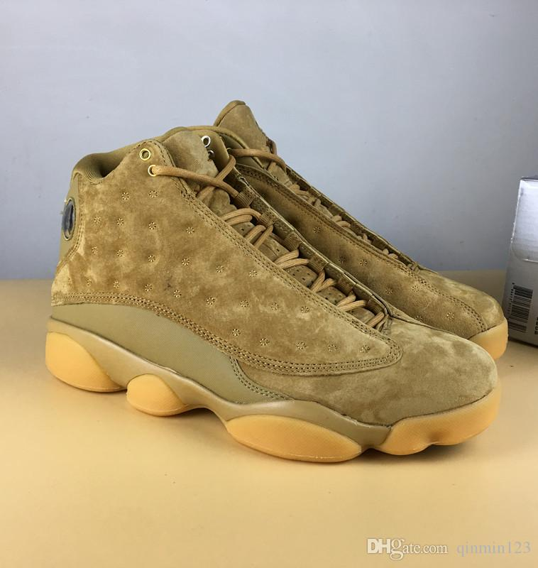 sneakers for cheap fad63 6113c 2018 13 Wheat Men Basketball Shoes yellow leather Sports Sneakers fashion  trainers 13s XIII top quality WITH BOX New size 8-13