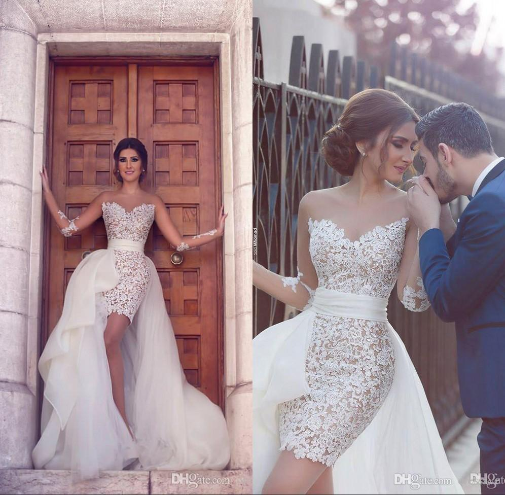 Discount Middle East African Sheer Long Sleeve Lace Short Wedding Dresses With Detachable Train 2019 Bride Gowns Bridal Tea Line: Short Wedding Dresses Sheer Train At Websimilar.org