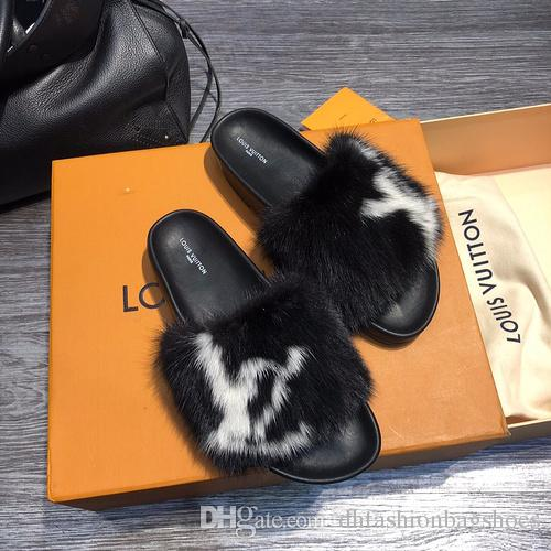 55bb6b578034 Winter Casual Slides For Women Sandals Fashion Girls Shoe High Quality  Cowhide Genuine Leather Slippers Size 35 41 With Box Espadrilles  Birkenstock Sandals ...