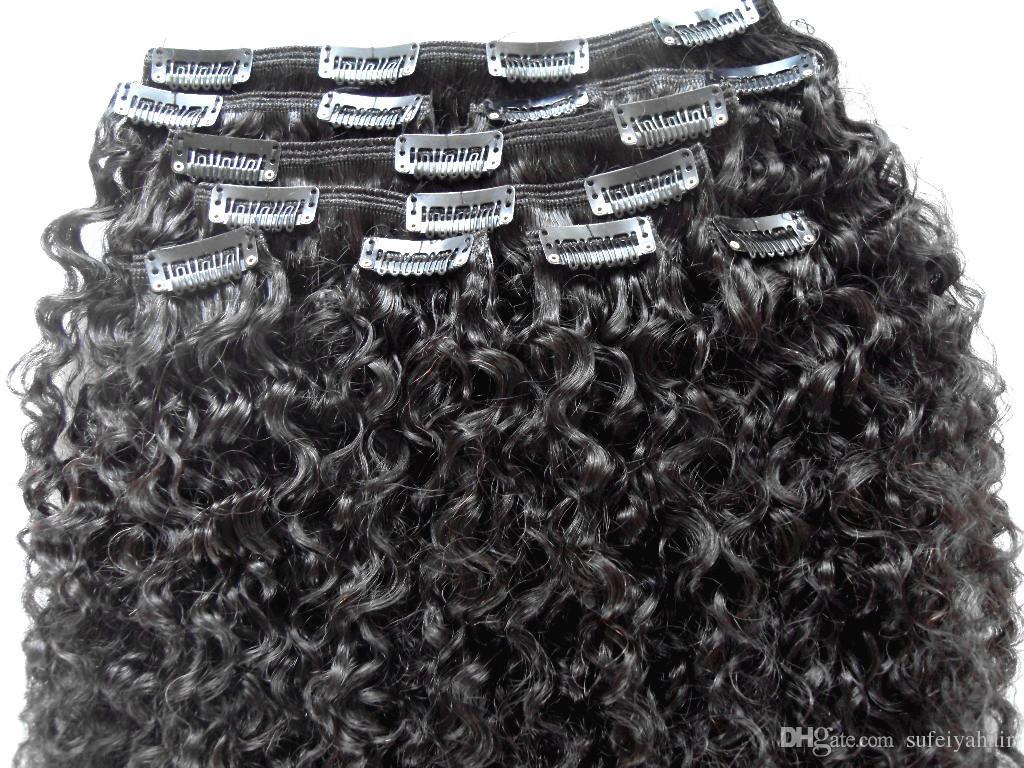 Extensions de Cheveux Humains 3B 3C Clip Dans Extensions de Cheveux Brésiliens Kinky Bouclés Vierge Cheveux Humains Épais Trame 120G 2 Ensembles Tête Complète