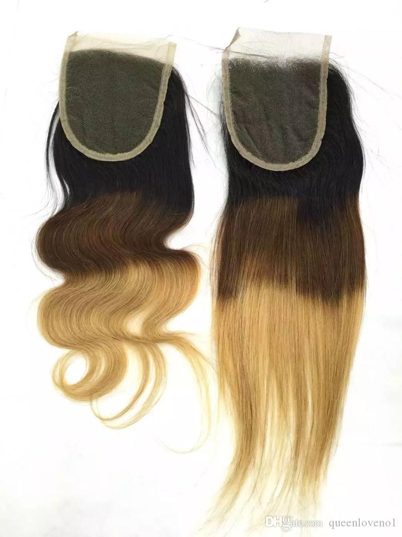 Brazilian Body Wave Human Remy Hair Weaves 3/4 Bundles with Closure Ombre 1b/4/Double Wefts Hair Extensions